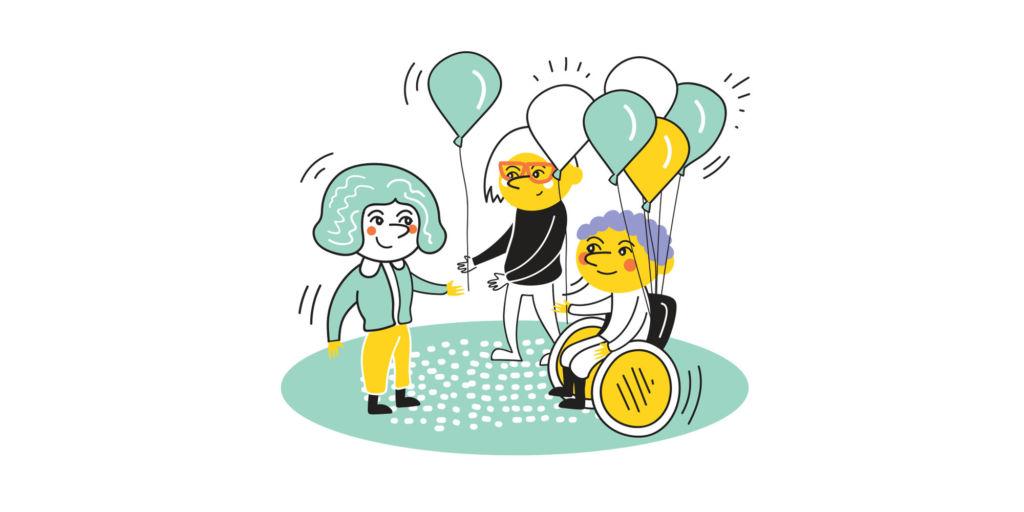 Piirroskuvassa henkilöt jakavat ohikulkijalle ilmapalloja. Henkilöt tekevät vapaaehtoistyötä.