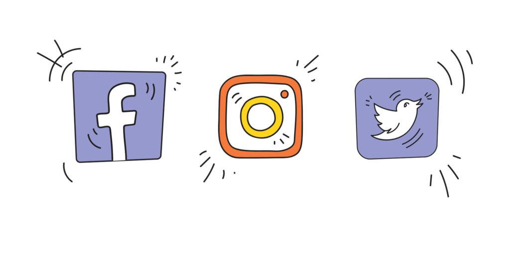 Piirroskuvina Facebookin, Instagramin ja Twitterin logot