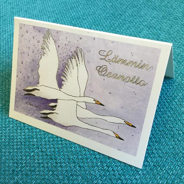 Pikkukortti Joutsenet, original Anne Karlsson,Lämmin osanotto, sivusta kuvattu