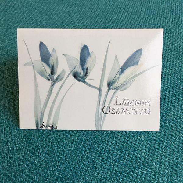 Pikkukortti Siniset kukat, Original Birgit Marttinen, Lämmin osanotto