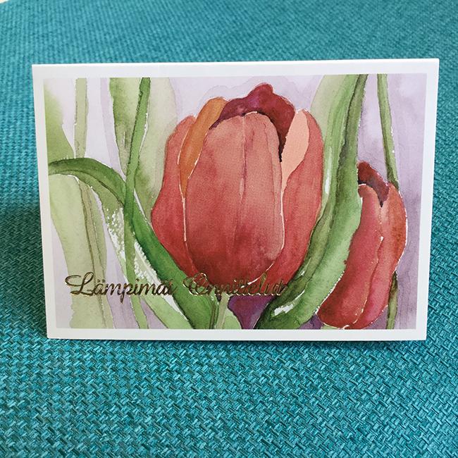 Pikkukortti Tulppaani, original Anne Karlsson, Lämpimät onnittelut