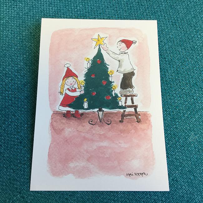 Postikortti Joulupuu on rakennettu, original Sari Haapa