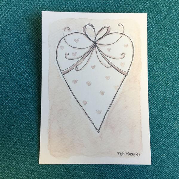Postikortti Sydän, original Sari Haapa