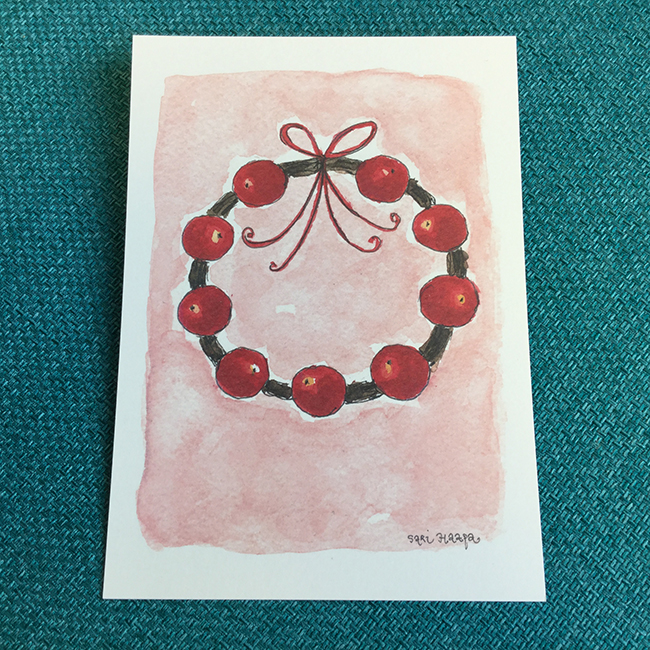 Postikortti Tervetuloa joulu, original Sari Haapa
