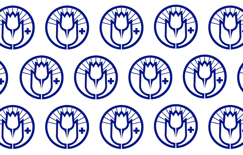 Monta sinistä Tukiliiton logoa valkoisella taustalla. Logossa on tulppaanin kuva ympyrän keskellä.
