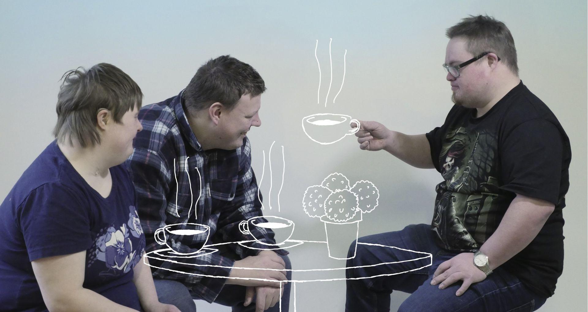 Aarne ja Aune -hankkeen kuvapankkikuva. Kolme ihmistä istuvat piirretyn pöydän ympärillä ja juovat kahvia. Tekijä Omillaan-osuuskunta