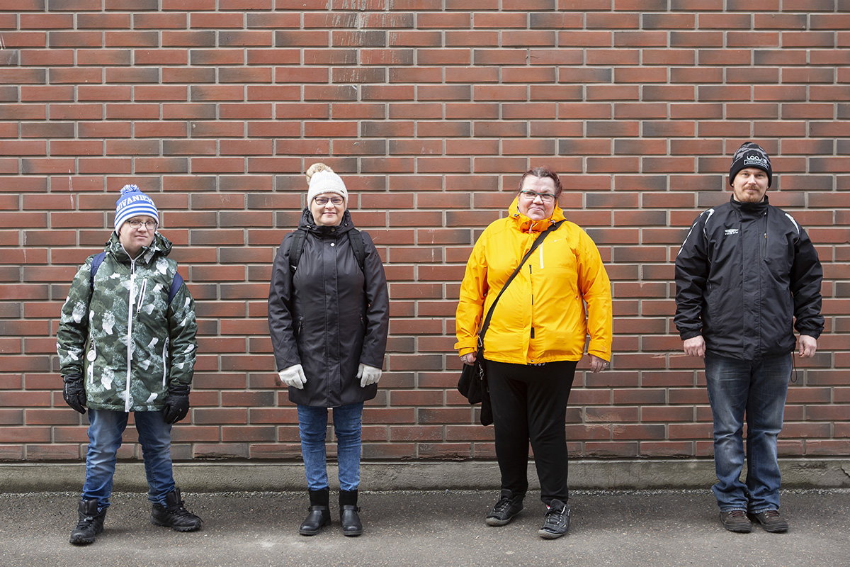 Me Itse vuosikokous peruttiin korona-viruksen takia. Vas Vili Korhonen, Sari Vanttaja, Jaana Nordlund ja Esa Peltonen. Kuvaaja Laura Vesa