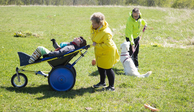 Vaikeasti vammainen Otso Nohteri nauttii ulkoilusta Kangoo-rattaissa. Mukana vanhemmat Vesa ja Sari Nohteri. Kuva: Laura Vesa