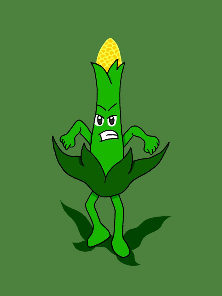 Rohkaisupakan tunnekortti, jossa maissin tähkä kiristelee vihaisena hampaitaan.