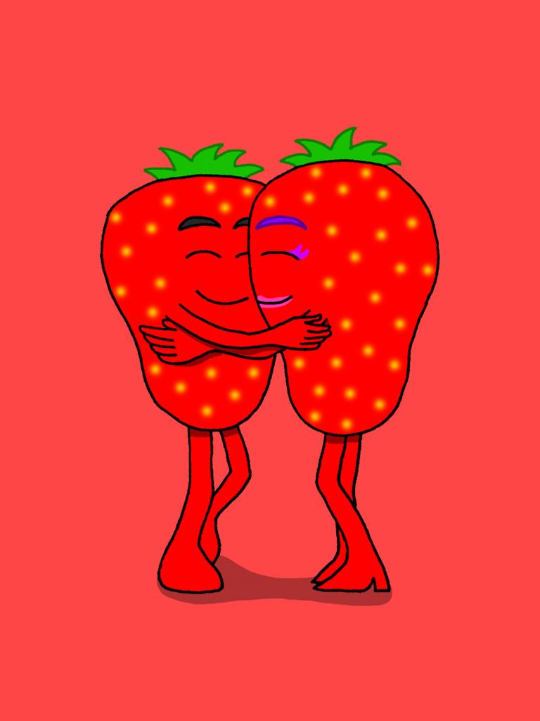 Rohkaisupakan tunnekortti, jossa kaksi mansikkaa halaavat toisiaan hymyillen.
