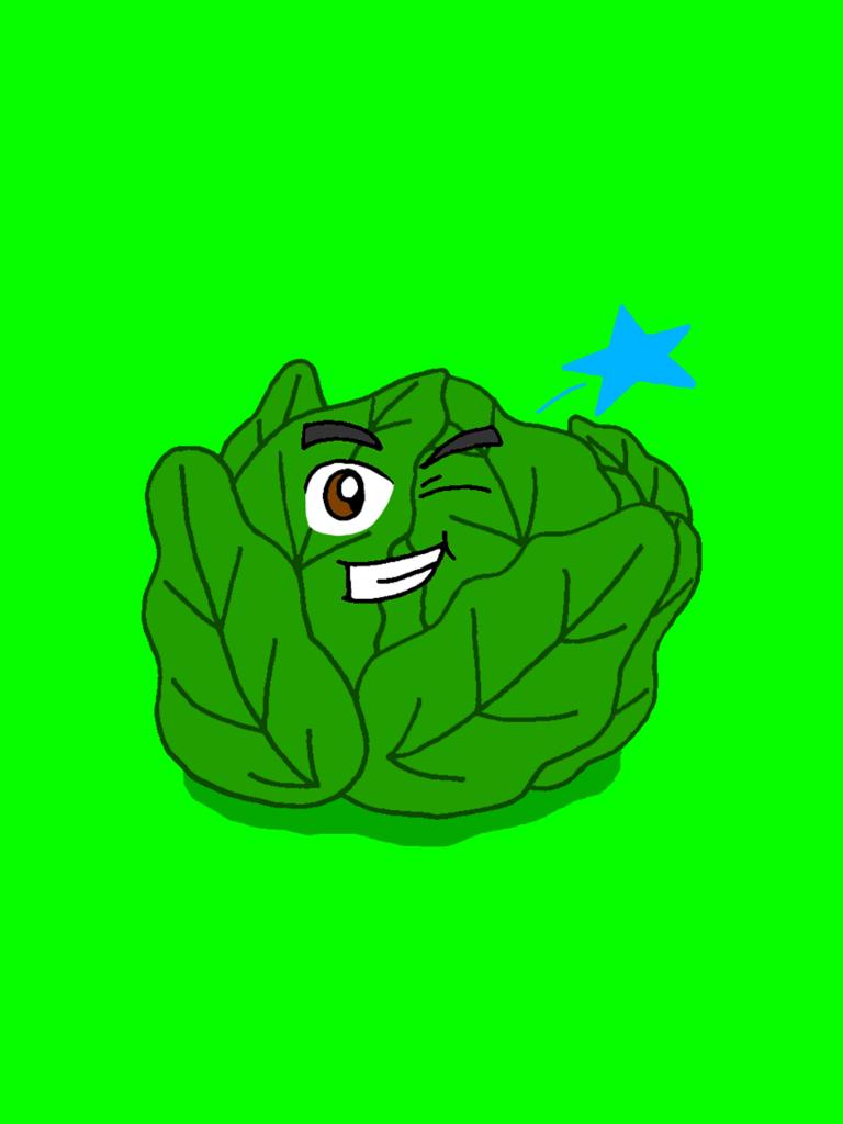 Rohkaisupakan tunnekortti, jossa lehtisalaattikerä on päästään pyörällä.