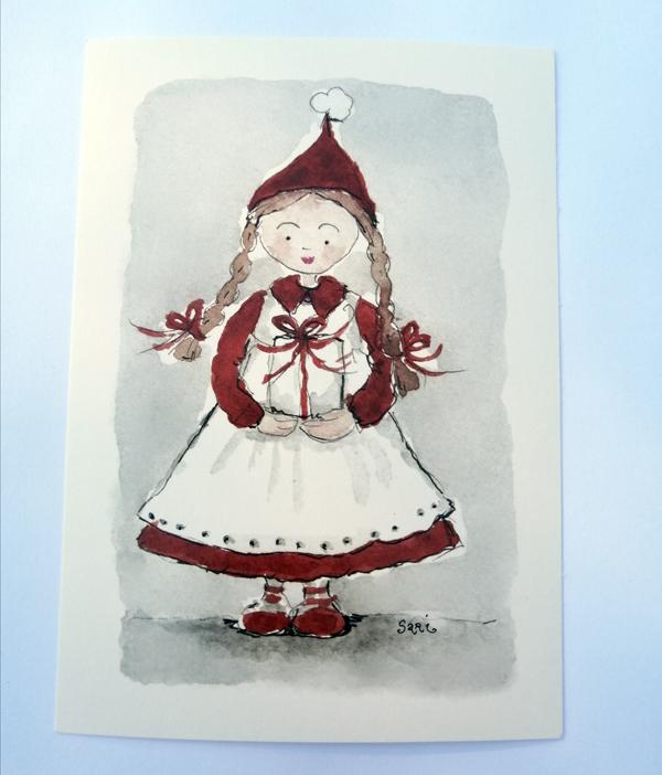 Sari´s ArtWork joulukortti, jossa tonttutyttö