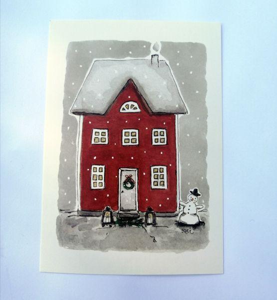 Sari´s ArtWork joulukortti, jossa punainen talo lumen keskellä