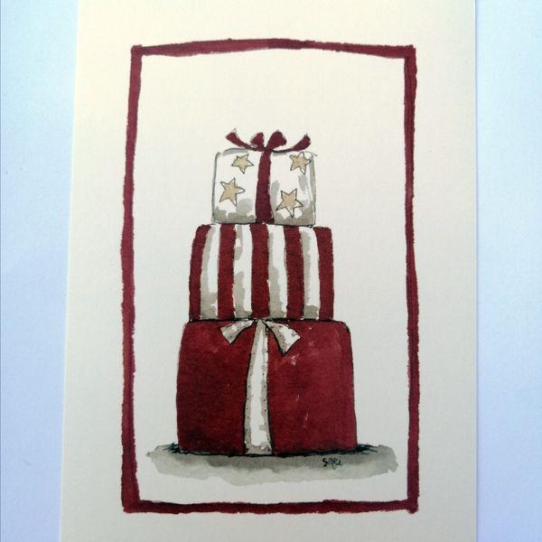 Sari´s ArtWork joulukortti, jossa pino joululahjoja