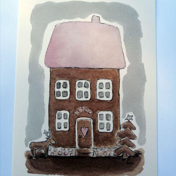 Sari´s ArtWork joulukortti, jossa suuri piparkakkutalo