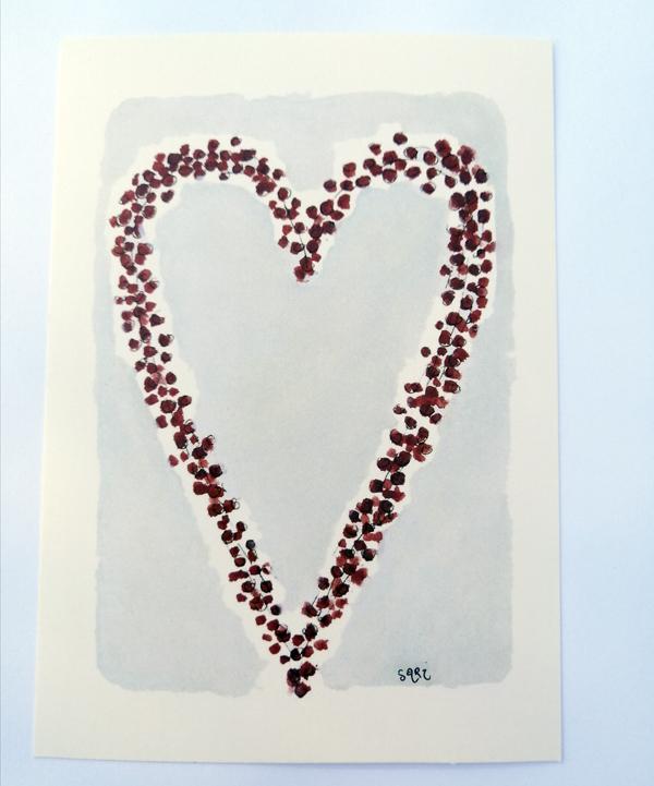 Sari´s ArtWork joulukortti, jossa sydämen muotoinen marjakaranssi