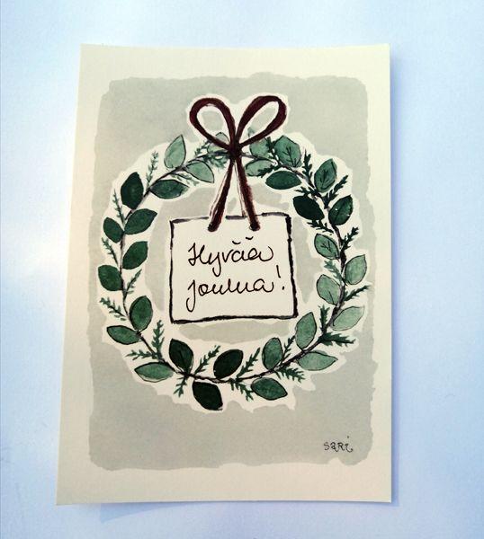 Sari´s ArtWork joulukortti, jossa jouluinen kranssi ja teksti Hyvää Joulua