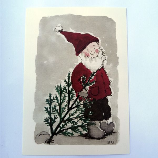 Sari´s ArtWork joulukortti, jossa tonttu joulukuusen hakumatkalla