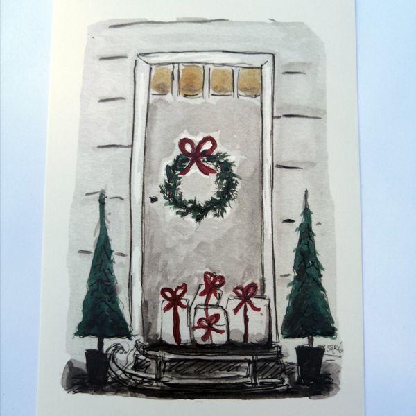 Sari´s ArtWork joulukortti, jossa oven edessä paketteja ja ovessa joulukranssi