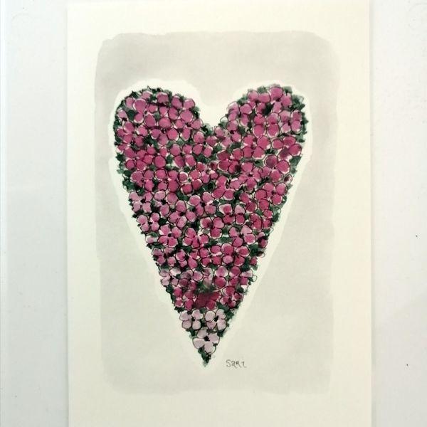 Sari´s ArtWork kortti, jossa kukkasydän