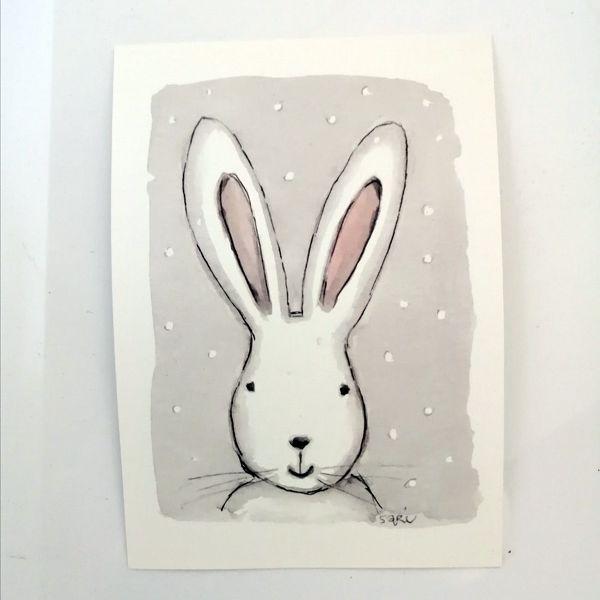 Sari´s ArtWork joulukortti, jossa pupu lumisateessa