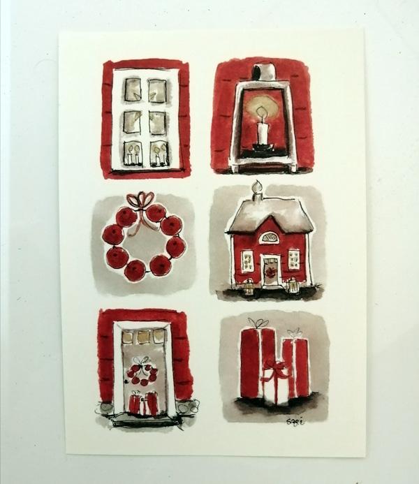 Sari´s ArtWork joulukortti, jossa jouluisia pikkukuvia