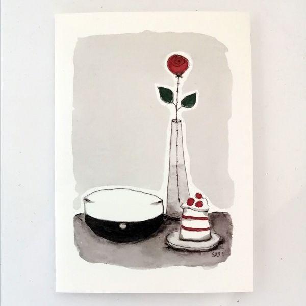 Sari´s ArtWork kortti, jossa ylioppilaslakki ja kukka