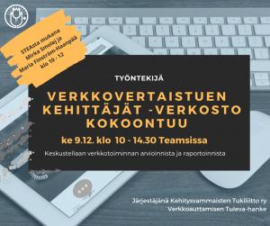 9.12.20 mainos verkkovertaistuen kehittäjät -verkoston tapaaminen