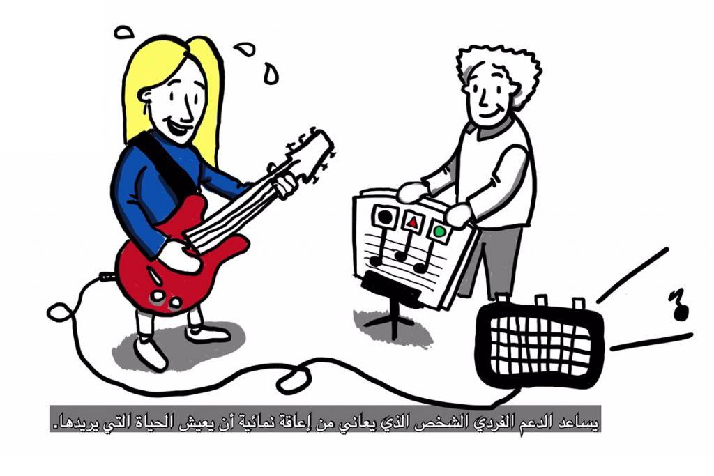 Mies soittaa kitaraa ja saa siihen tukea.