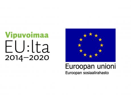 Vasemmalla on Vipuvoimaa EU:lta 2014-2020 logo ja oiekalla on Euroopan unionin lippulogo, jossa on tummansinisellä pohjalla 12 keltaista tähteä ympyrän muodossa. Lipun alla lukeeEuroopan unioni ja sen alla Euroopan sosiaalirahasto.