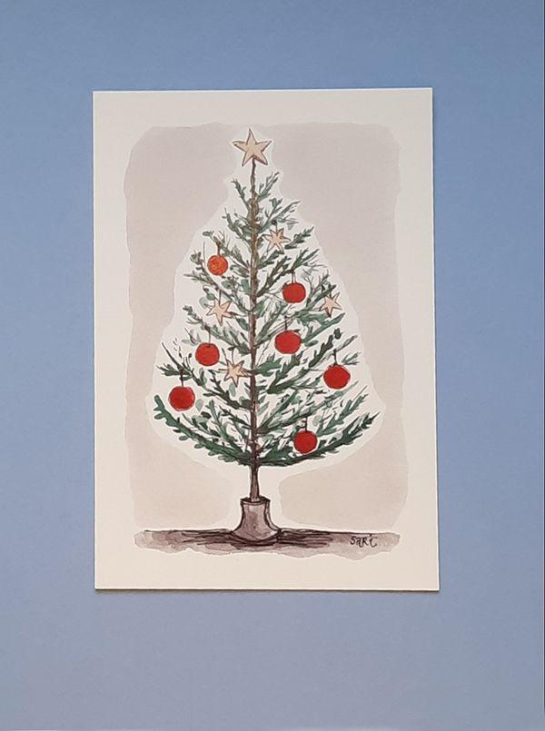 Jouluinen puu, punaiset koristeet