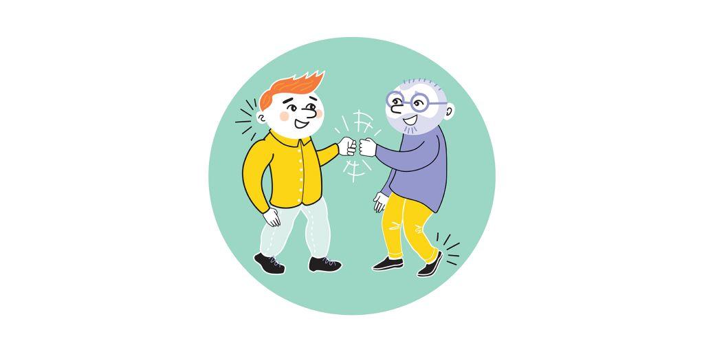 Kaksi piirroshahmoa tervehtii toisiaan nyrkkitervehdyksellä.
