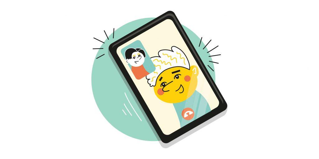 Piirroskuvassa älypuhelin jossa kaksi hahmoa juttelee videopuhelua.