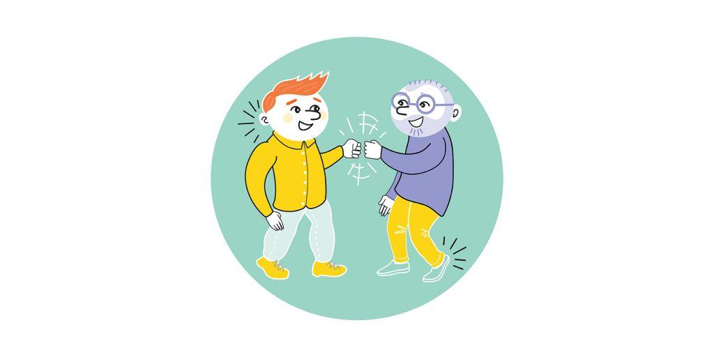 Kaksi piirroshahmoa tekevät toisilleen nyrkkitervehdyksen.