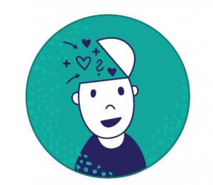Hymyilevän piirroshahmon päänsisältä leijailee sydämiä ja kysymysmerkkejä.